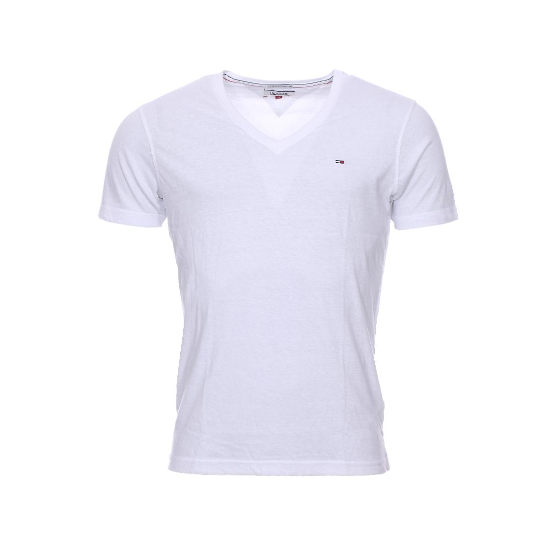 Tee-shirt col v  en coton mélangé blanc