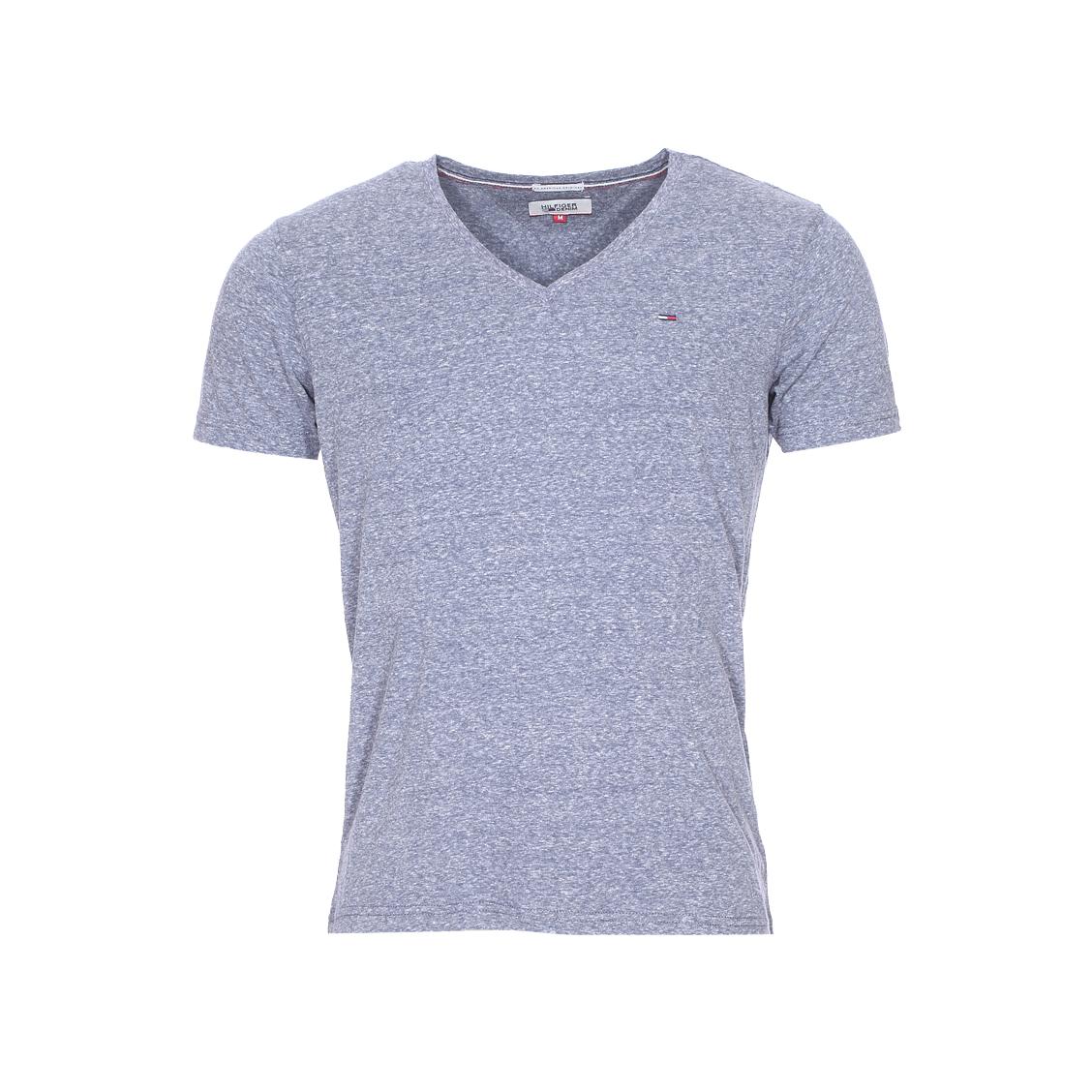 Tee-shirt col v  en coton mélangé bleu chiné