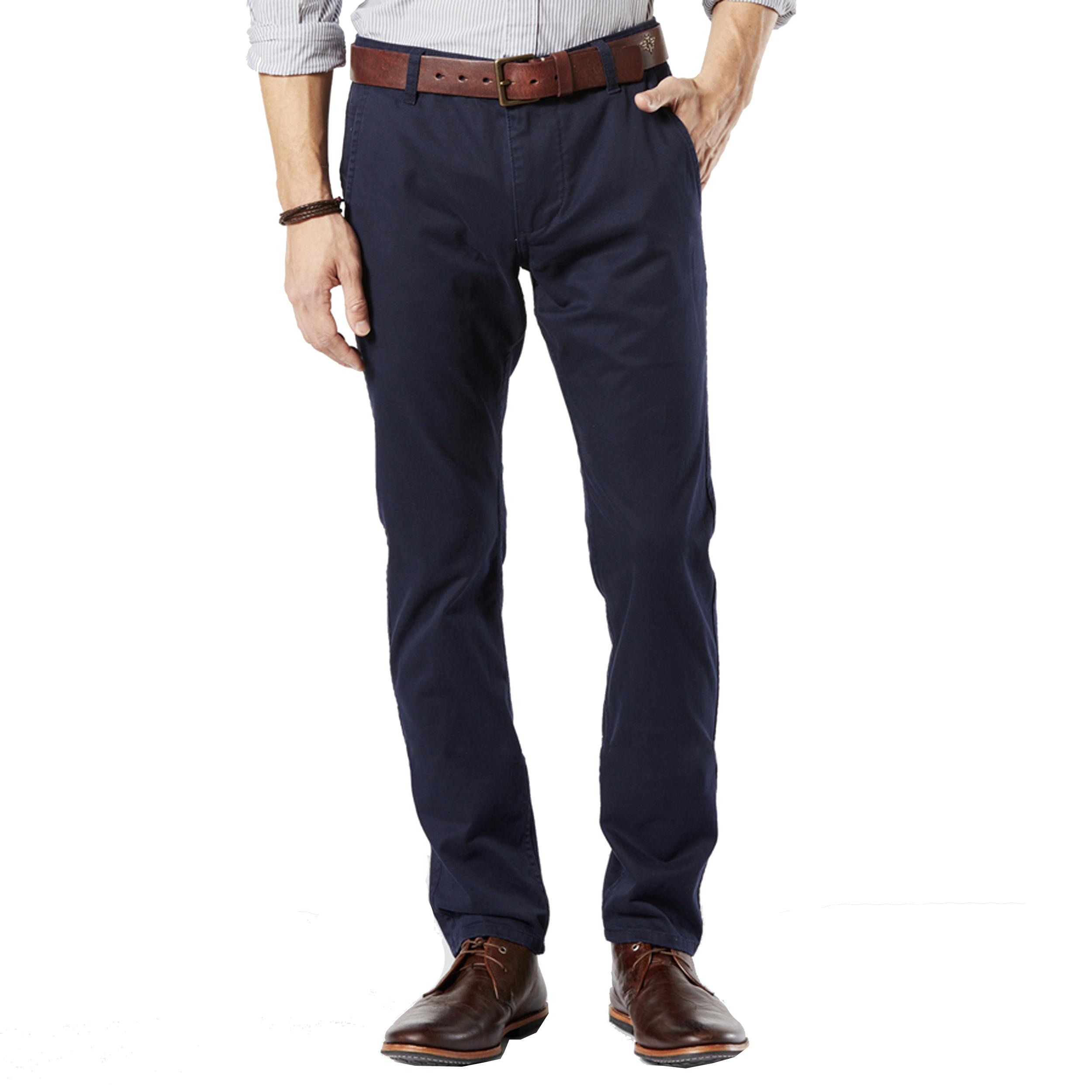 Pantalon alpha stretch khaki original skinny tapered  en sergé de coton bleu marine