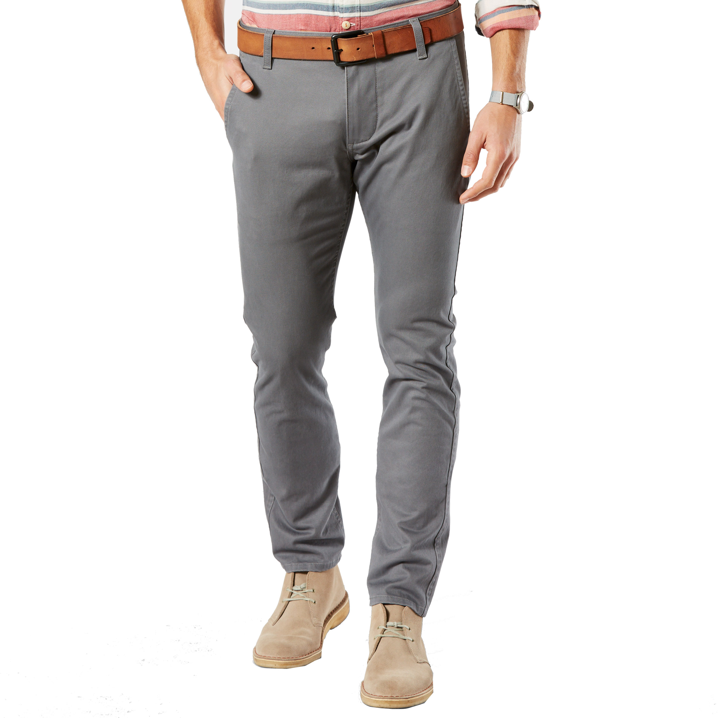 Pantalon alpha stretch khaki original skinny tapered  en sergé de coton gris