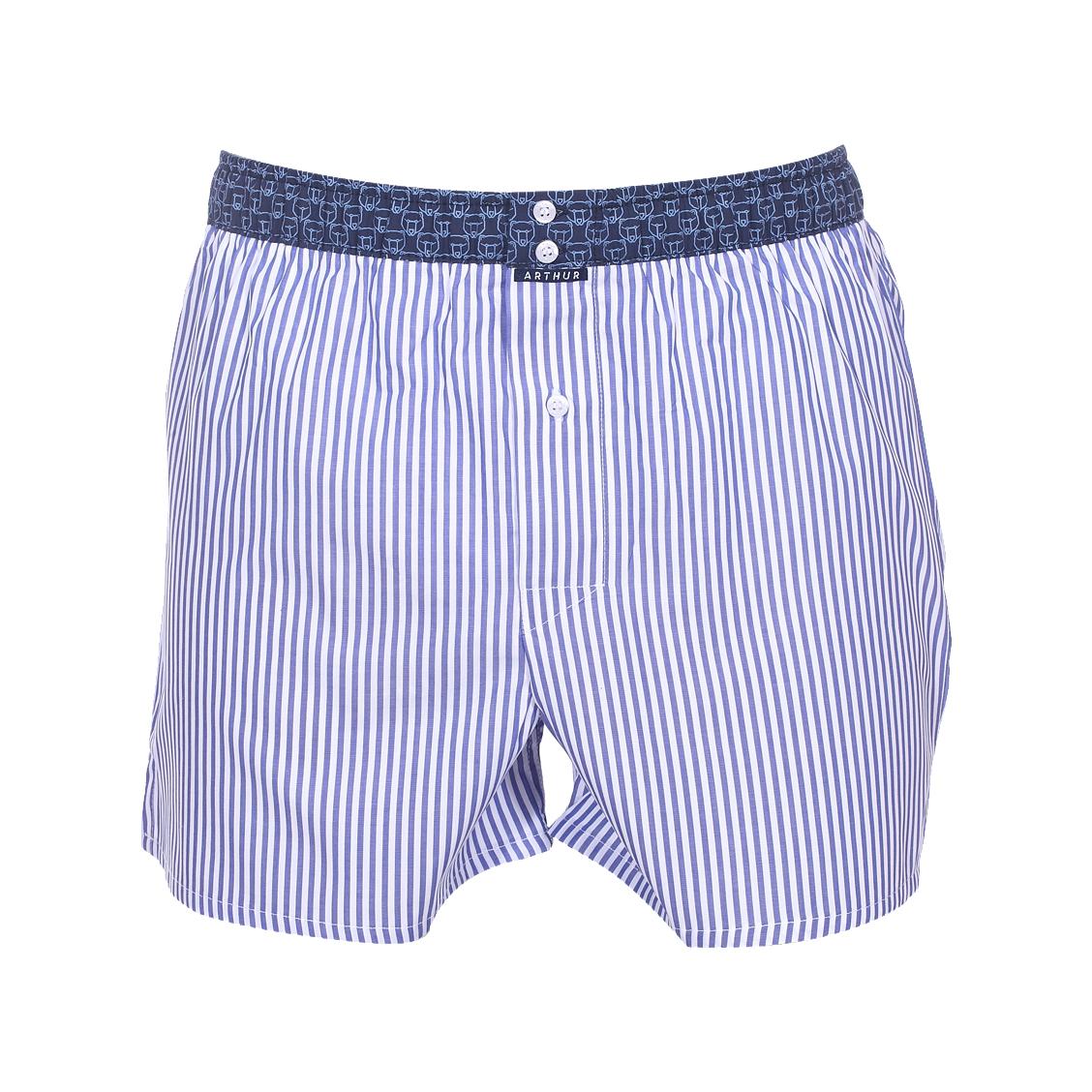 Caleçon club  à rayures blanches et bleu denim ceinture bleu marine à motifs ours bleu clair