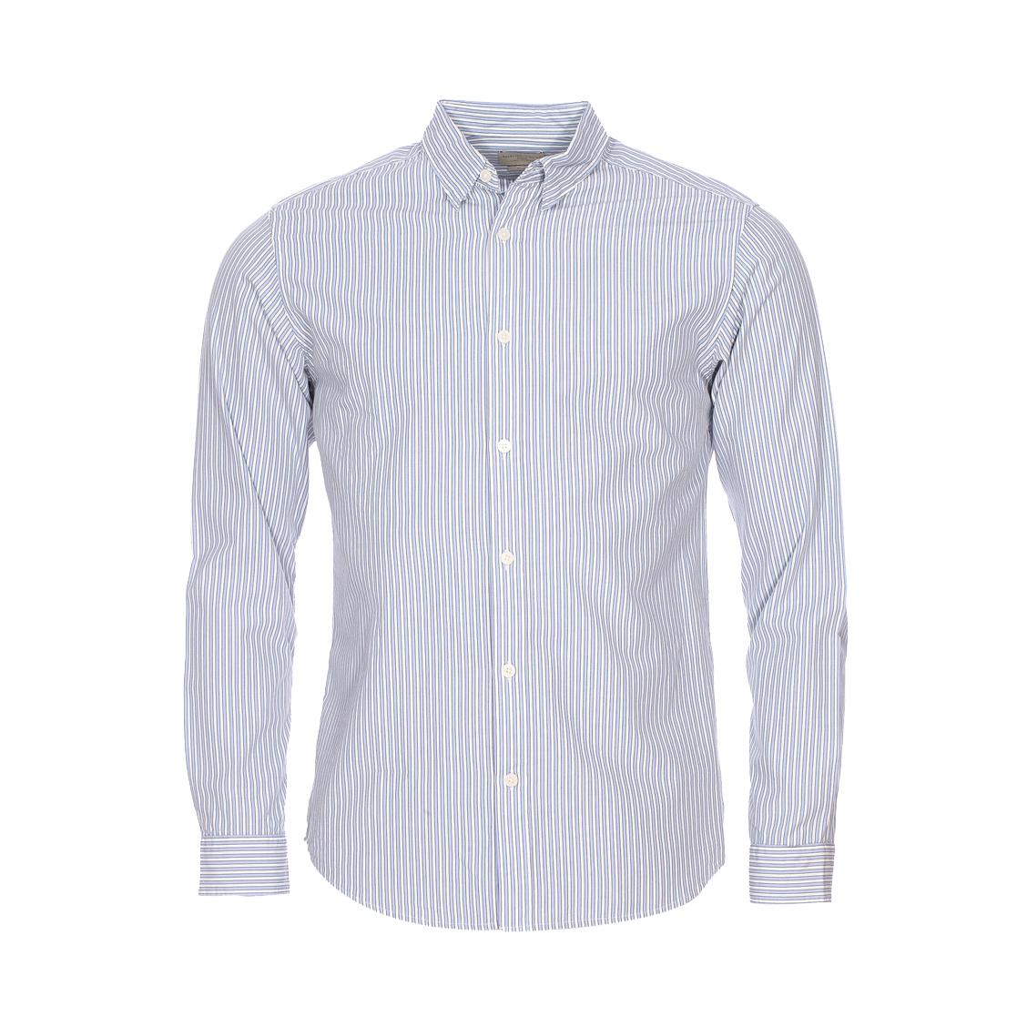 Chemise cintrée  en coton à rayures bleues et blanches