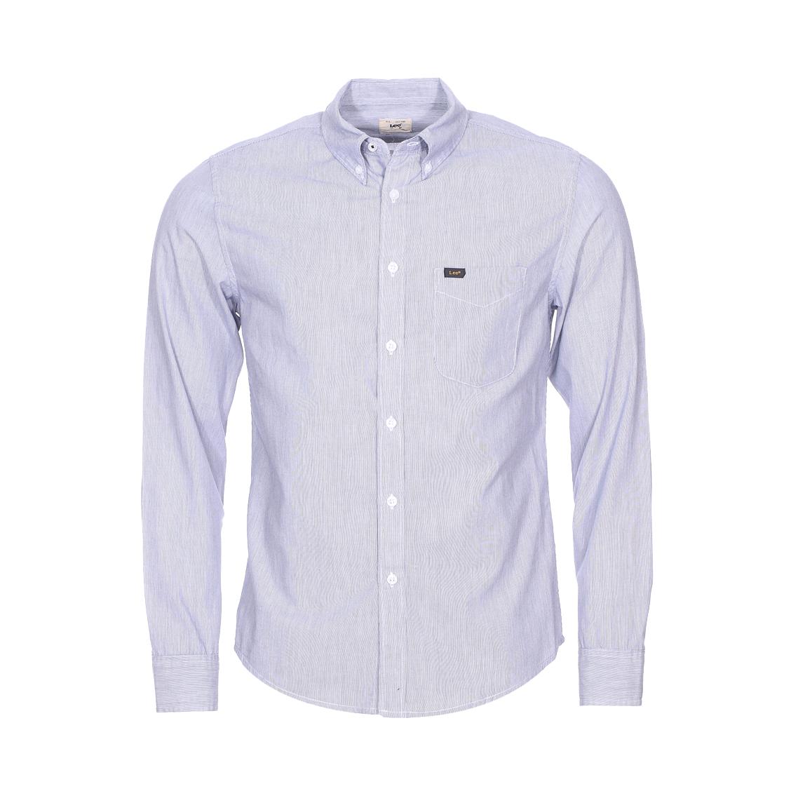 Chemise cintrée  en coton blanc à fines rayures noires
