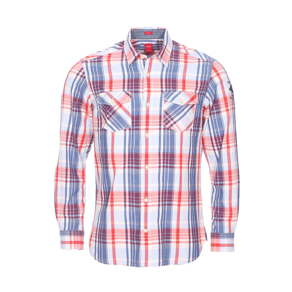 Chemise droite  en coton à carreaux bleus, blancs et rouges