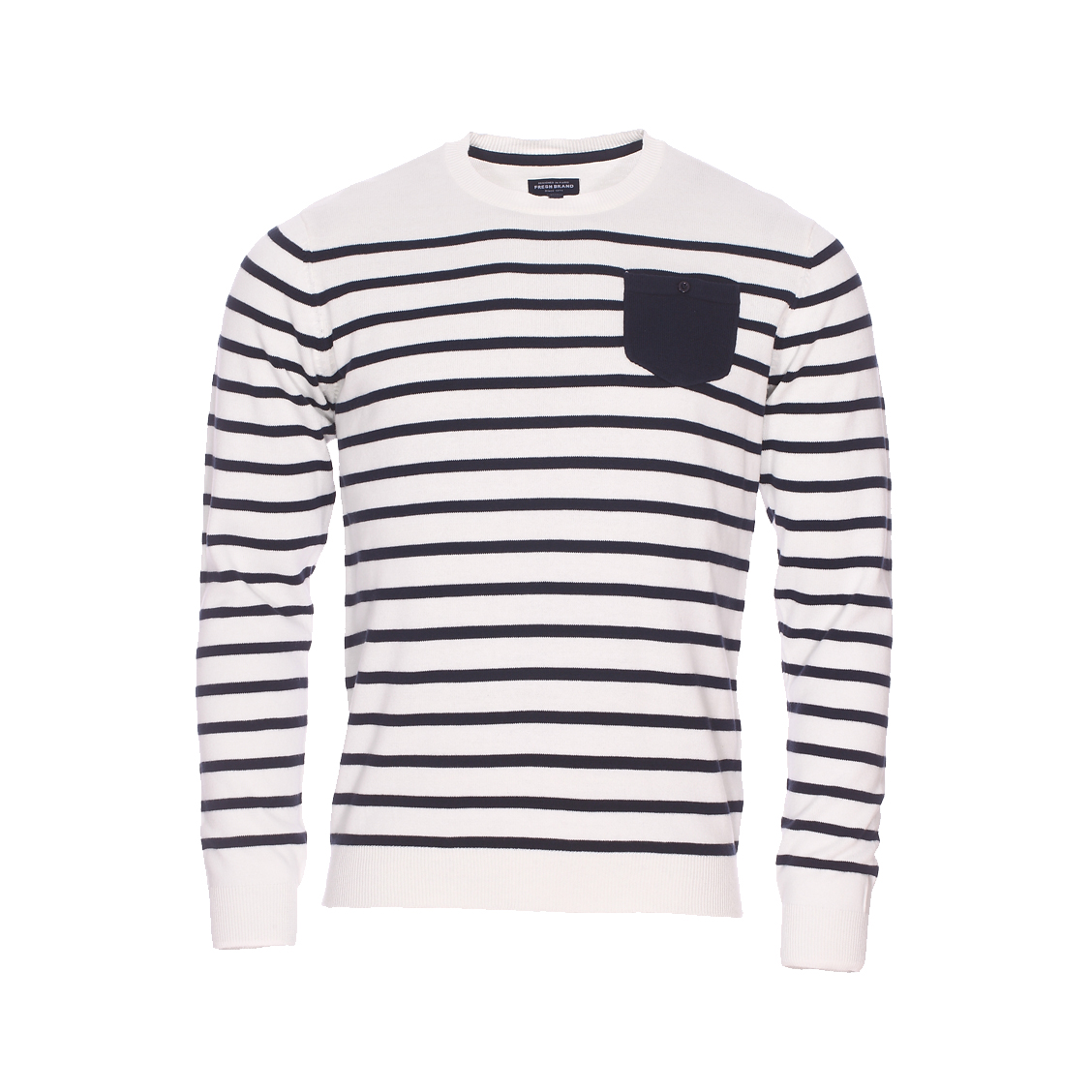 Pull col rond The Fresh brand écru à rayures bleu marine et poche poitrine