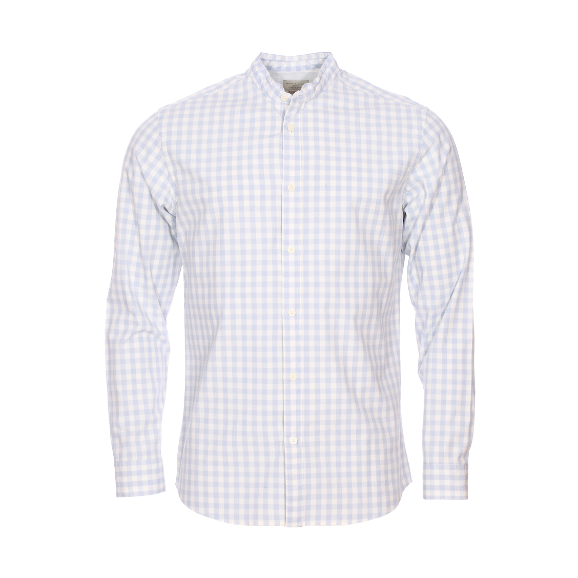 Chemise cintrée  en coton à carreaux blancs et bleus à col mao