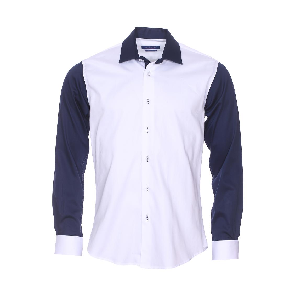 Chemise cintrée  en coton blanc, manches et col bleu marine