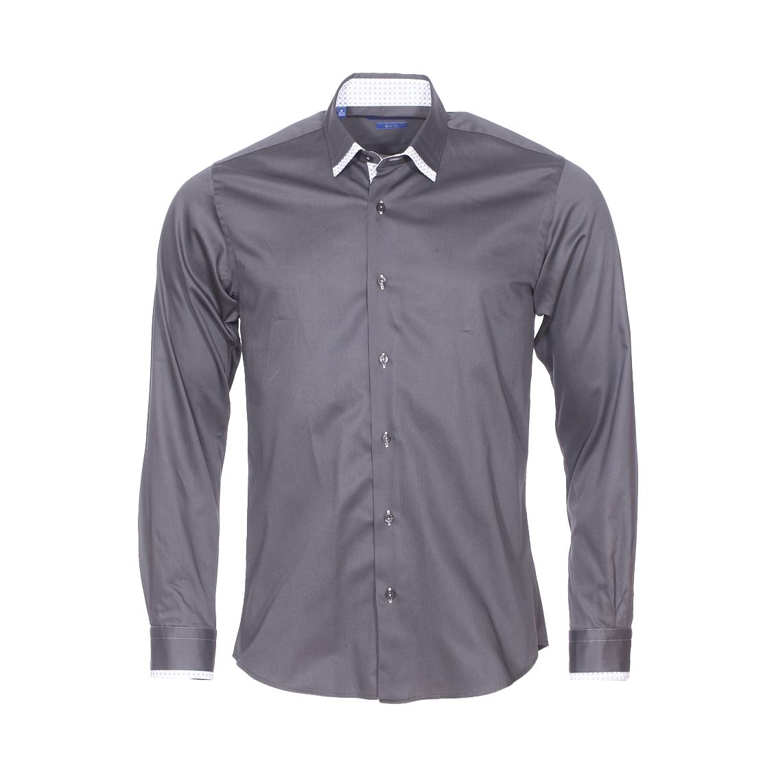 Chemise cintrée  en coton gris anthracite, col à opposition blanche à motifs fleurs