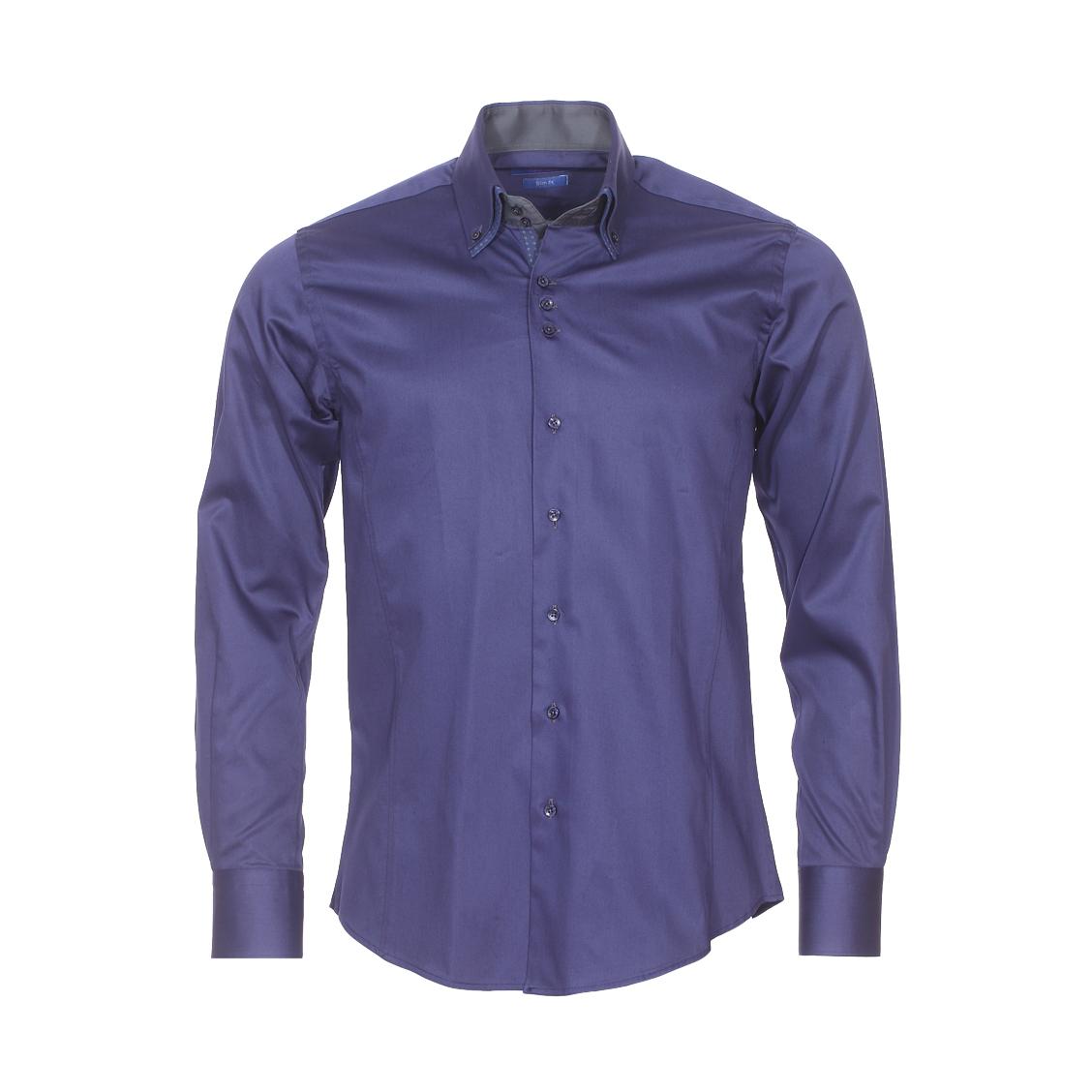 Chemise cintrée  en coton bleu marine à double col américain : 1 col bleu marine et 1 col bleu à motifs géométriques