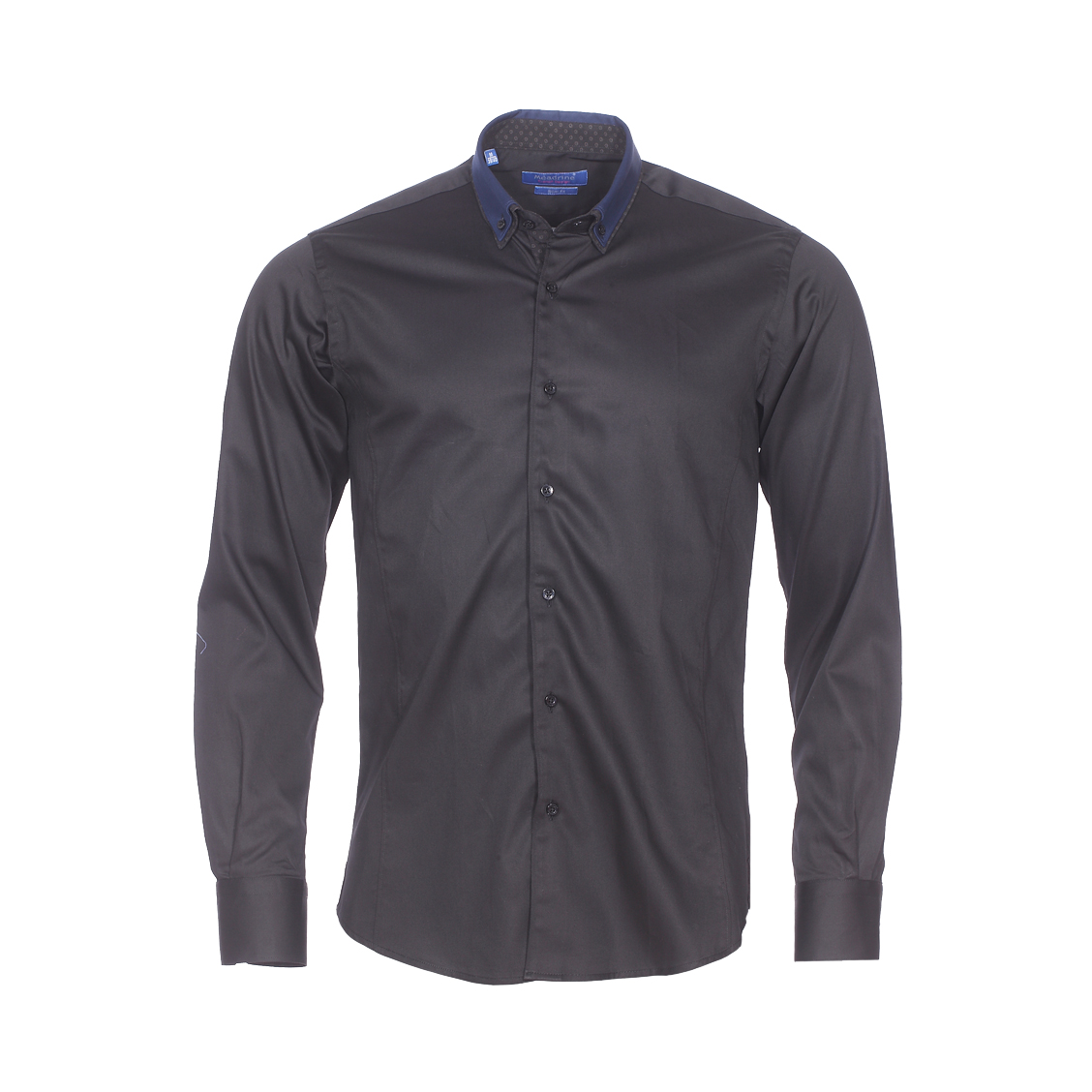 Chemise cintrée  en coton noir à double col américain : 1 col bleu marine et 1 col noir à fleurs