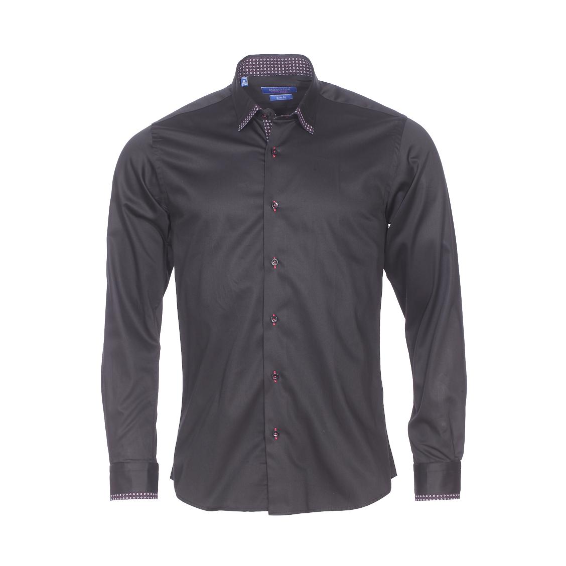 Chemise cintrée  en coton noir, col à opposition à motifs rouges et blancs