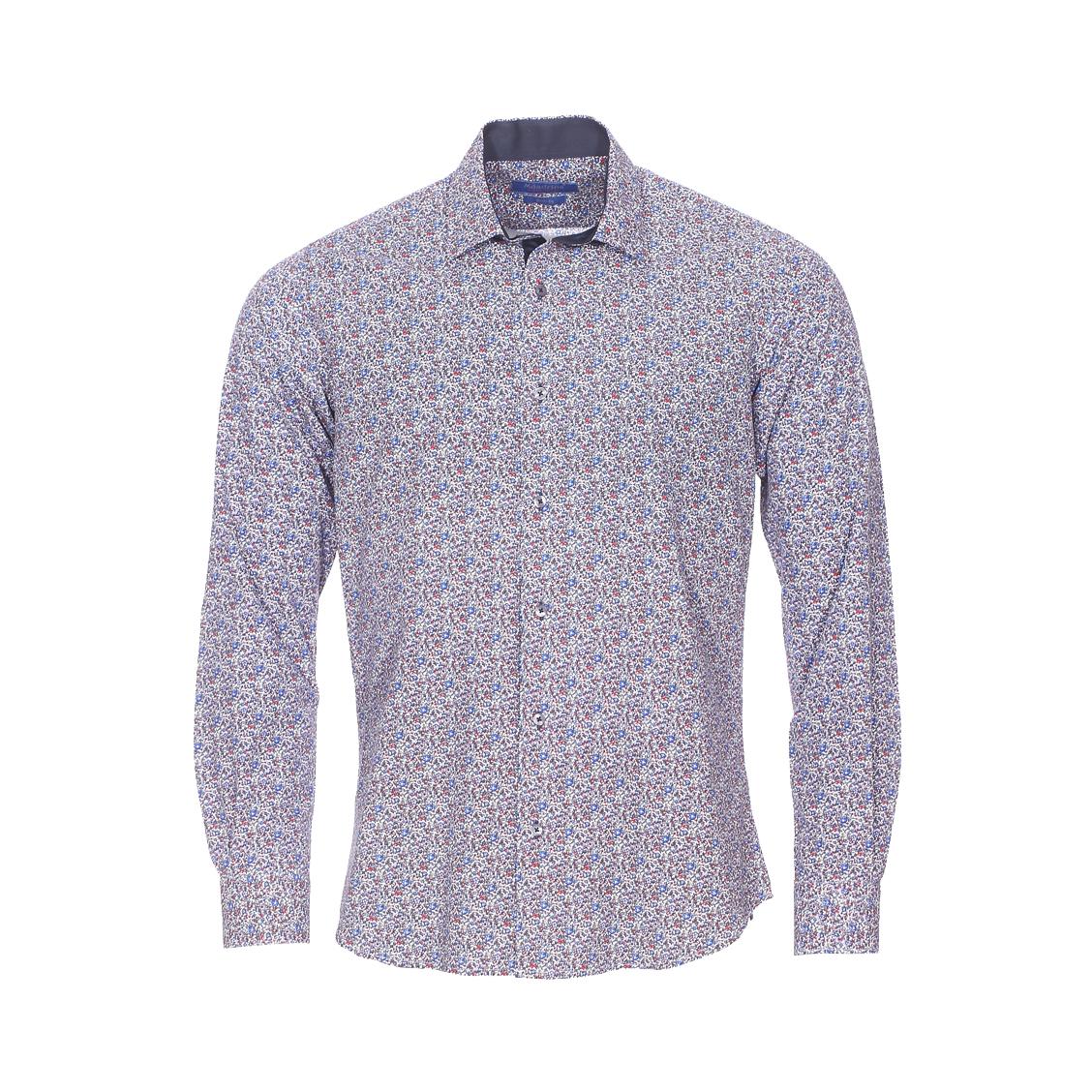 Chemise cintrée  en coton blanc à fleurs bleues, rouges et grises