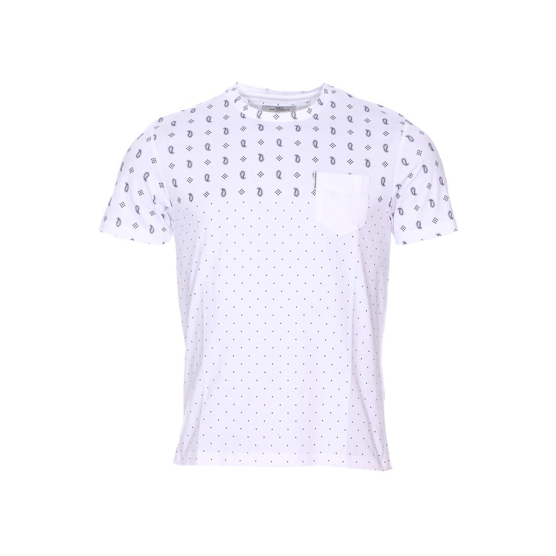 Tee-shirt col rond  en coton blanc à imprimé cachemire et petits pois bleu indigo
