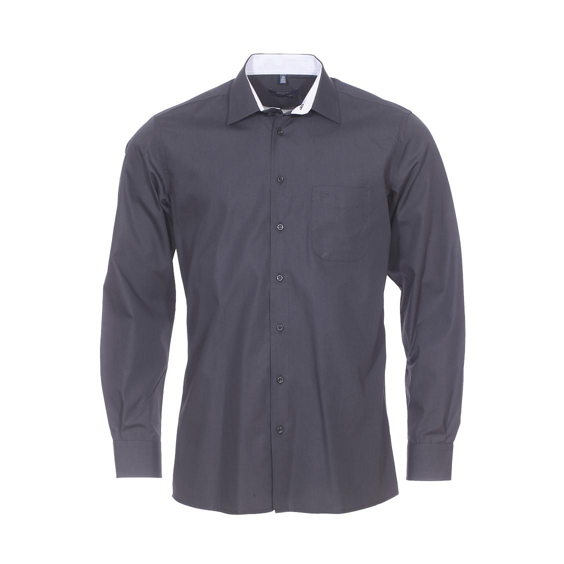 Chemise droite  en coton mélangé noir à opposition à carreaux blancs et noirs