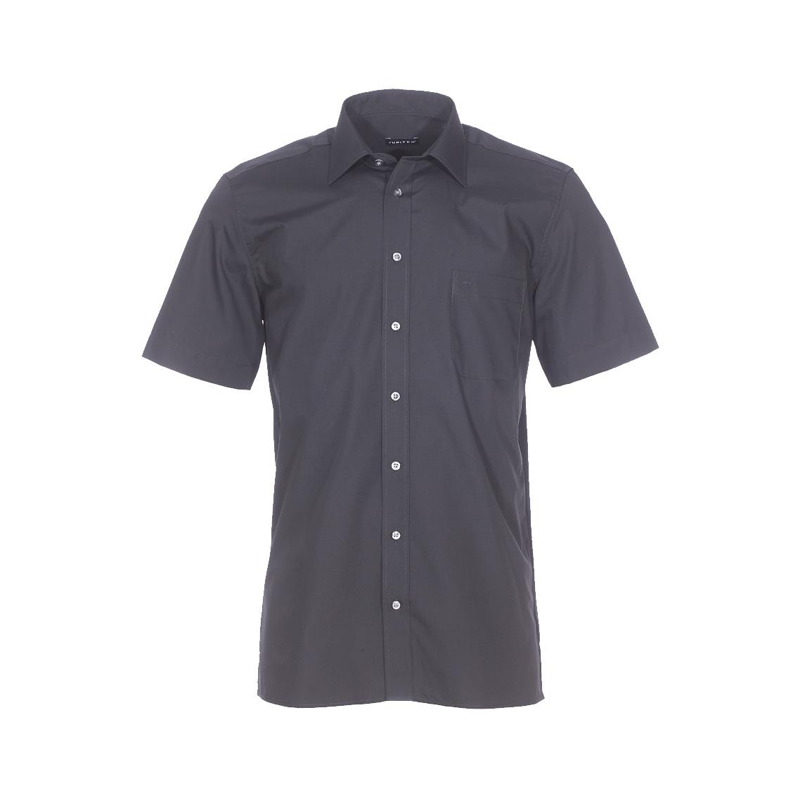 Chemise droite manches courtes  en coton mélangé noir