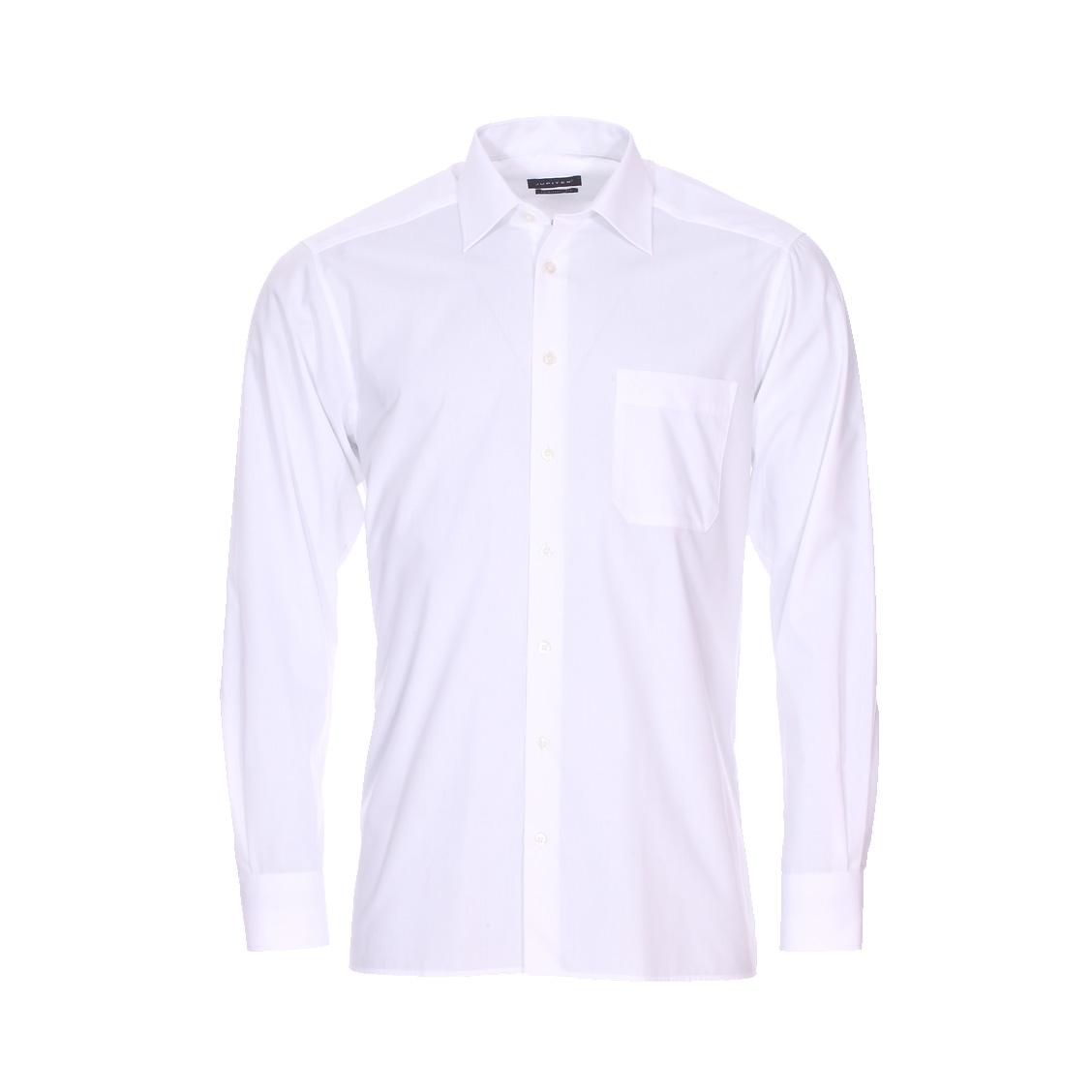 Chemise droite  en coton mélangé blanc