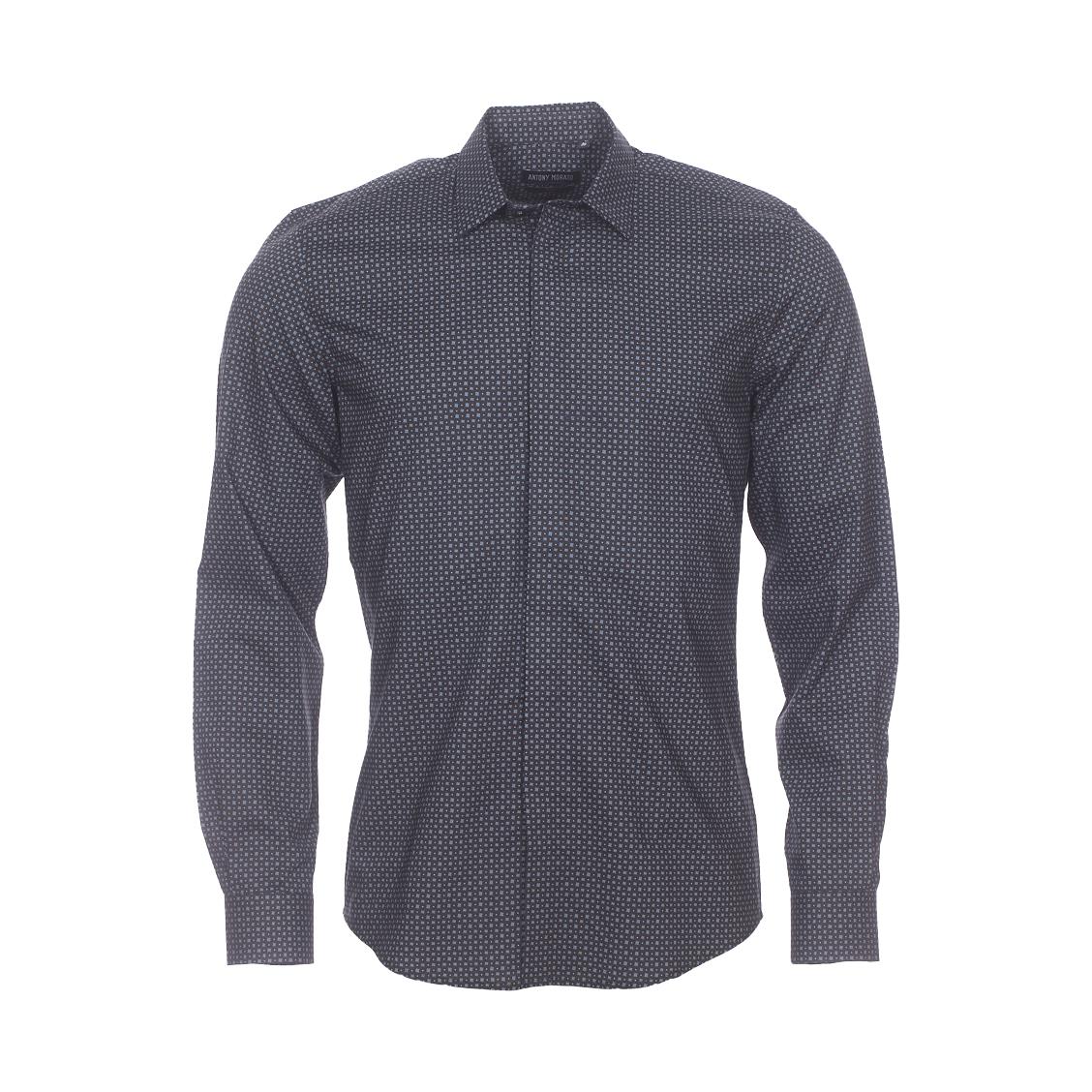 Chemise cintrée Antony Morato en coton noir à carreaux gris et petits ronds marron clair