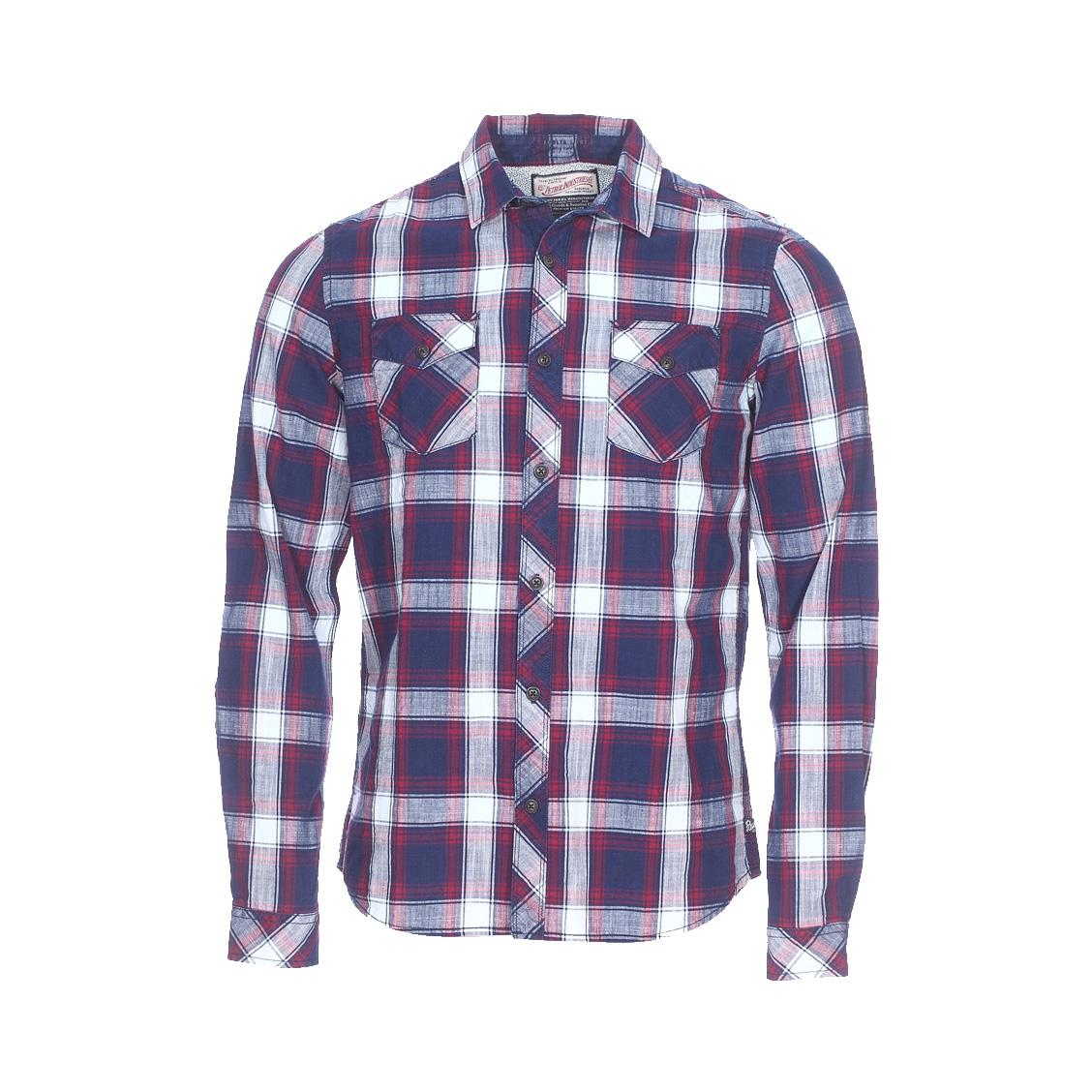 Chemise ajustée  en coton à carreaux bleus et rouges