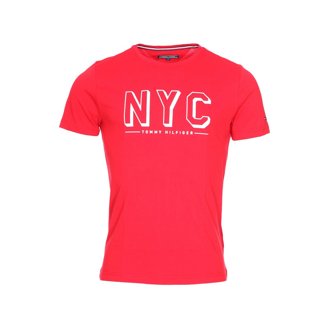 Tee-shirt col rond finn  en coton rouge floqué en velours blanc