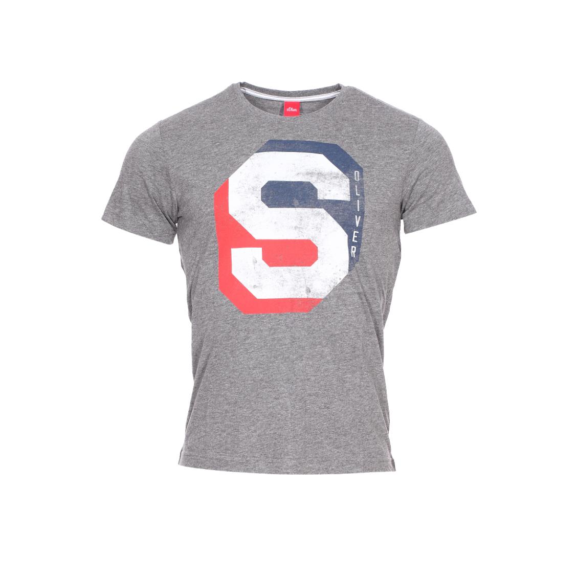 Tee-shirt col rond  en coton et viscose gris anthracite chiné floqué en rouge, blanc et bleu marine
