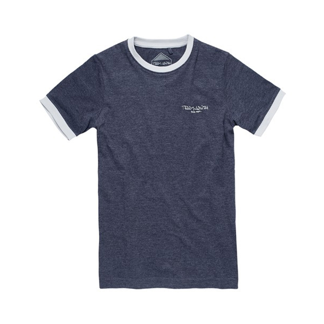 Tee-shirt col rond  the tee bleu marine chiné à bordures blanches