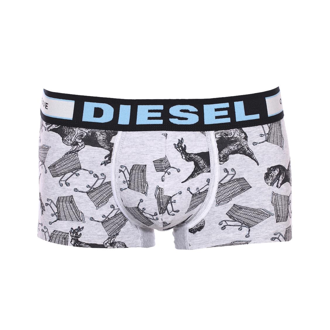 Boxers diesel en coton stretch gris imprimé dinosaure
