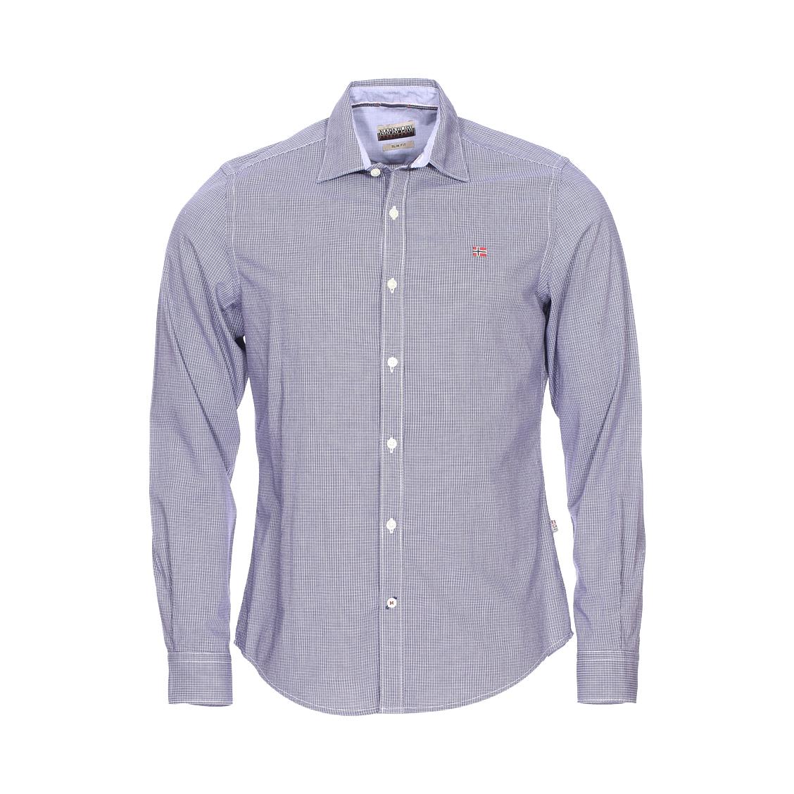 Chemise cintrée gerrington  en coton à carreaux bleu marine et blancs