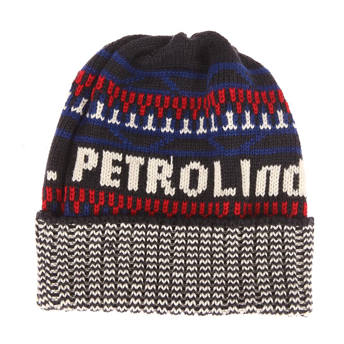 Bonnet Petrol Industries bleu marine brodé en rouge, blanc et bleu