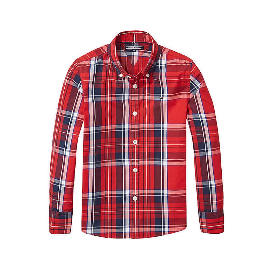 Chemise droite  en coton à carreaux rouges, blancs et bleu marine