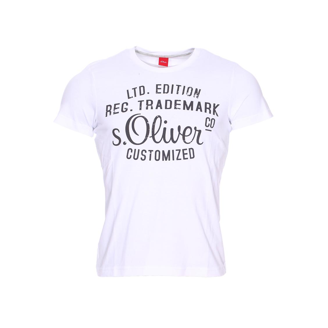 Tee-shirt col rond  en coton blanc à imprimé noir