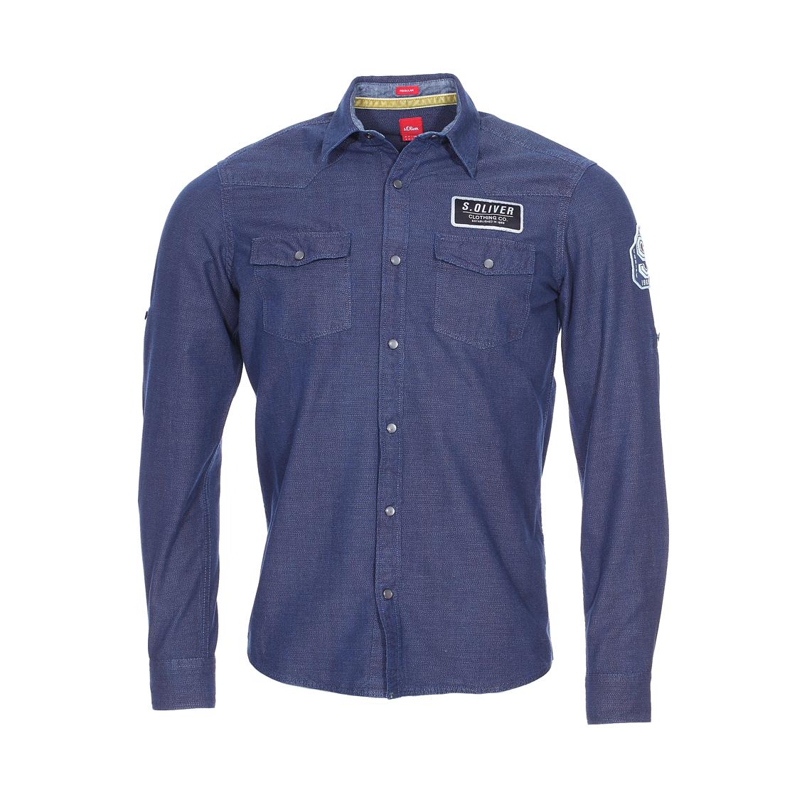 Chemise droite s.oliver en coton bleu marine chiné