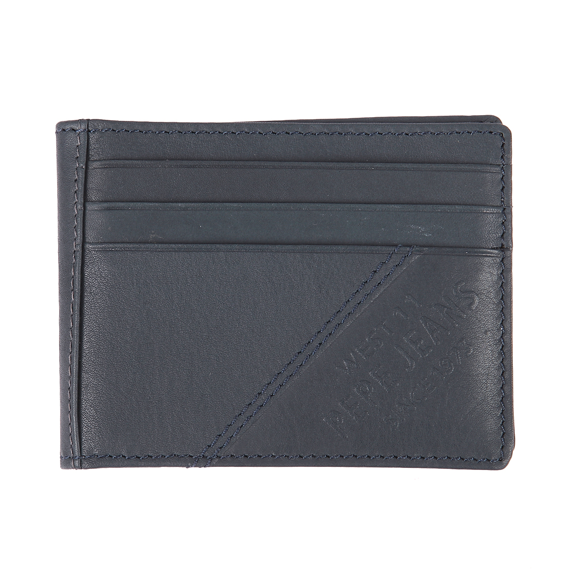 Porte-cartes 2 volets pepe jeans en cuir bleu pétrole à surpiqûres