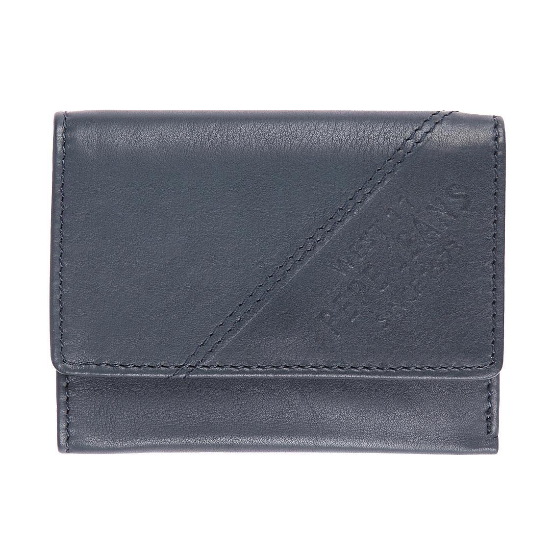 Mini-portefeuille 3 volets pepe jeans en cuir bleu pétrole