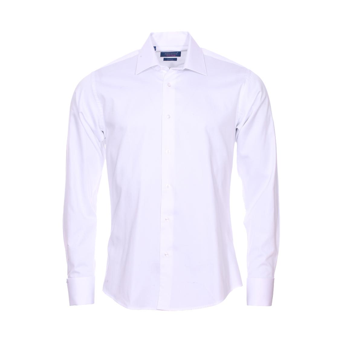 Chemise cintrée  en coton blanc à poignets mousquetaires