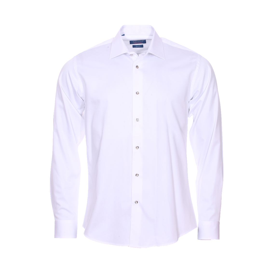 Chemise cintrée  en coton blanc à boutons argentés