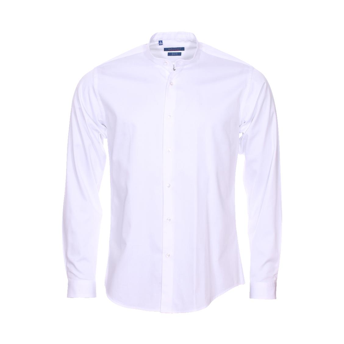 Chemise cintrée  en coton blanc à col mao