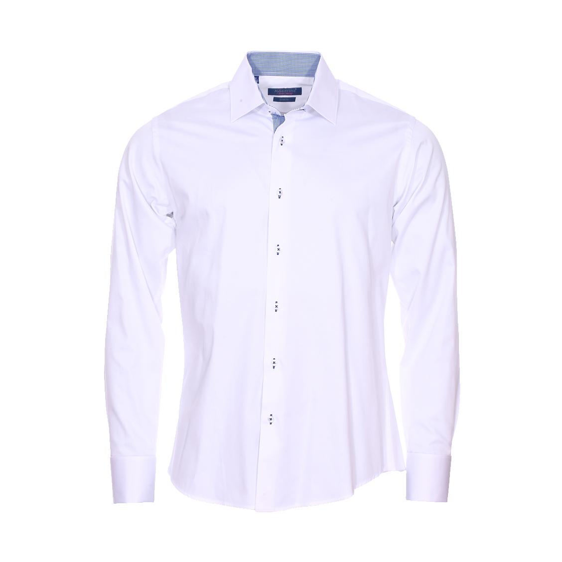 Chemise cintrée  en coton blanc à opposition à carreaux vichy bleu ciel et blancs