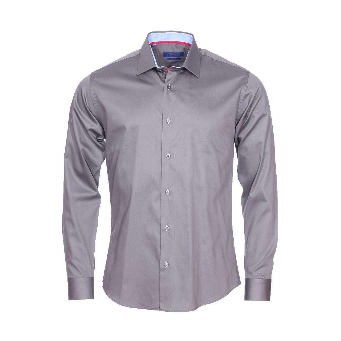 Chemise cintrée  en coton gris à opposition bleu ciel
