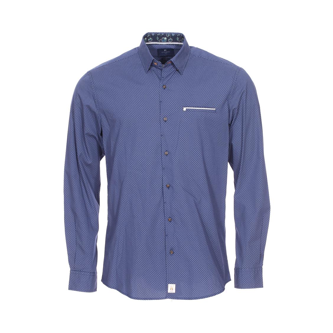 Chemise ajustée  en coton stretch bleu marine à motifs blancs et opposition bleu marine à fleurs