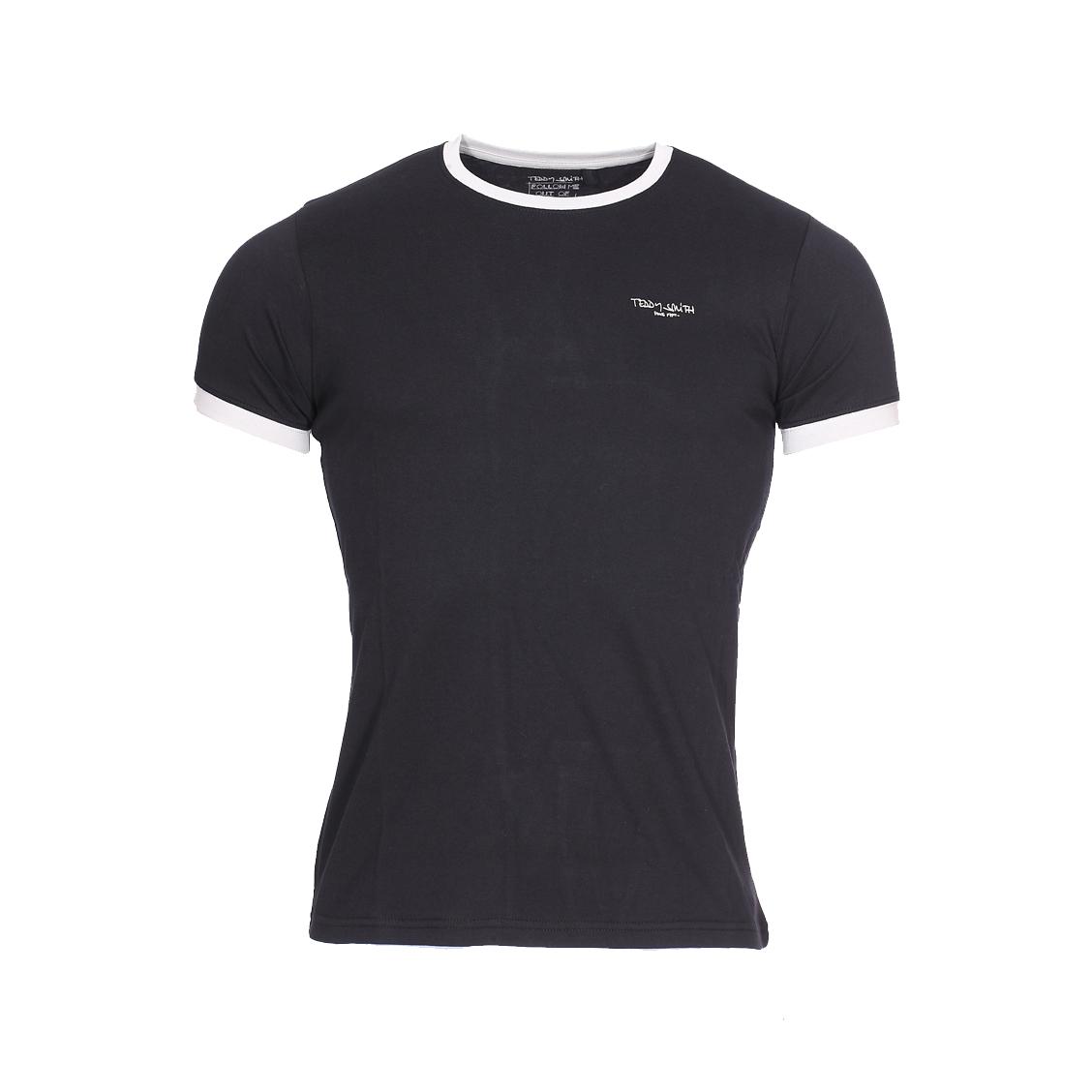 Tee-shirt col rond  en coton noir et gris