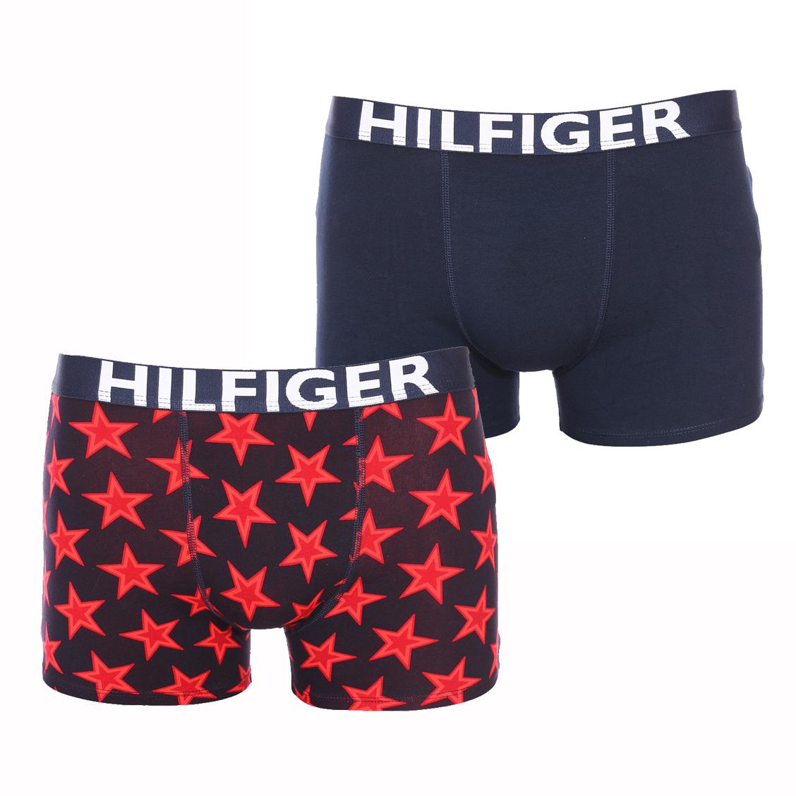 Lot de 2 boxers  en coton stretch bleu marine et bleu marine à étoiles rouges