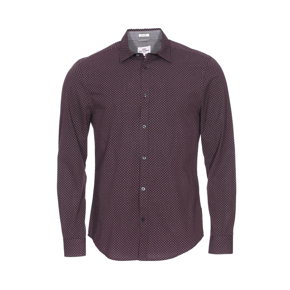 Chemise cintrée  en coton prune à motifs blancs