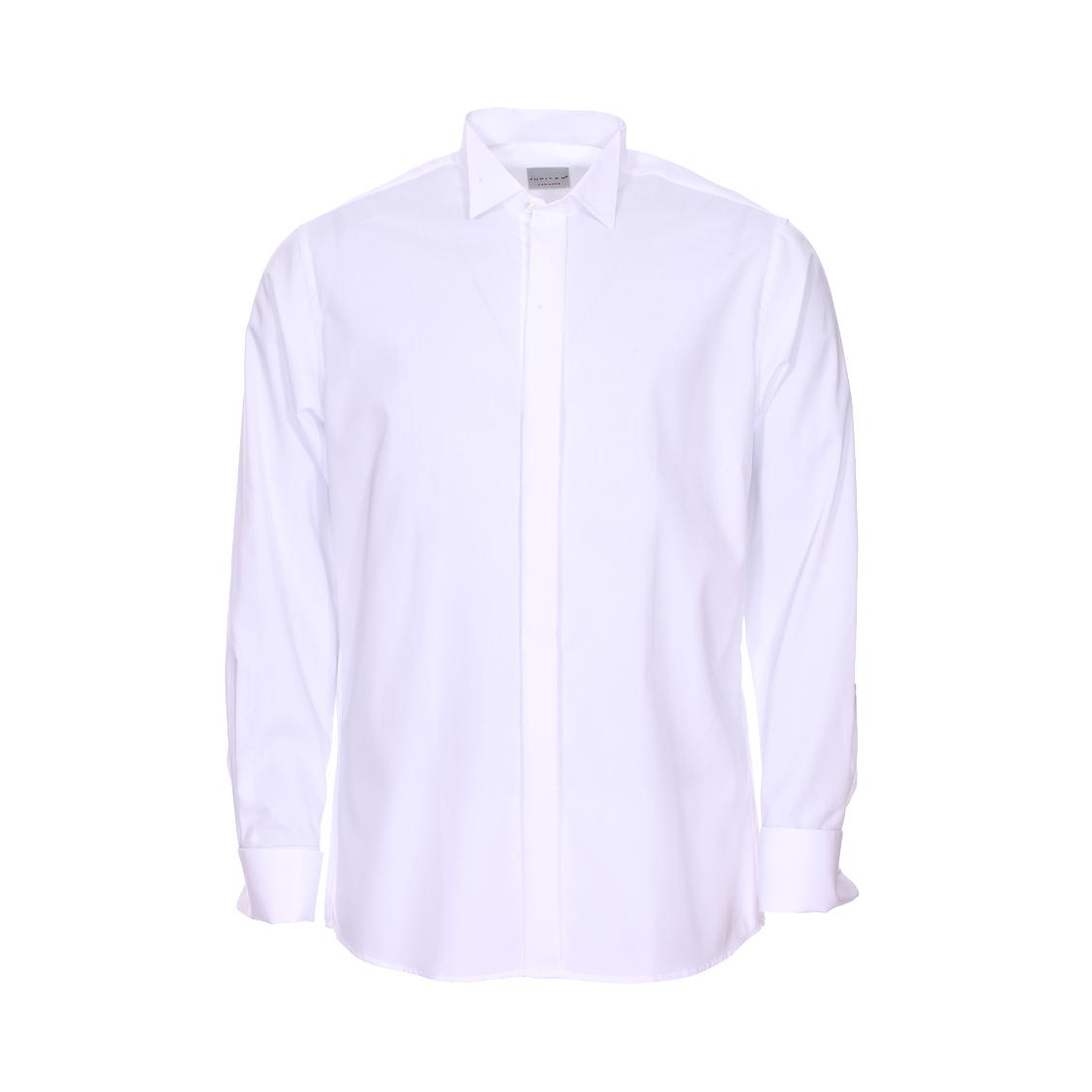 Chemise droite Noblesse Jupiter en coton blanc à col italien et poignets mousquetaires