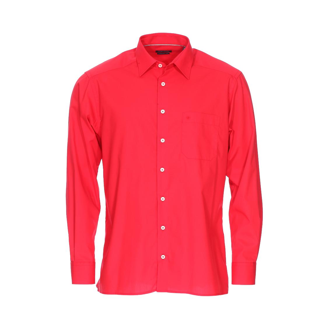Chemise droite noblesse  en coton rouge