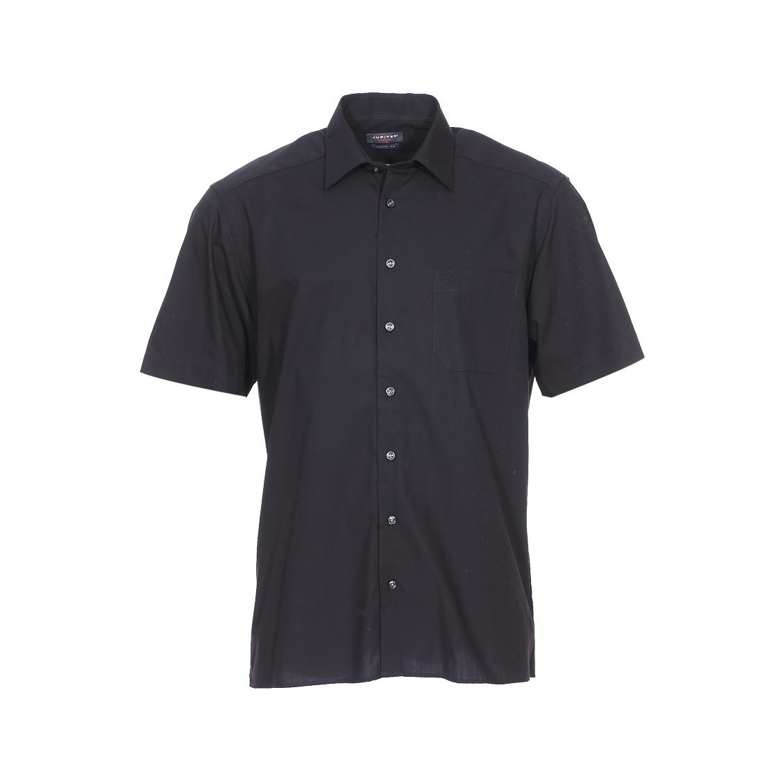 Chemise droite manches courtes noblesse  en coton noir