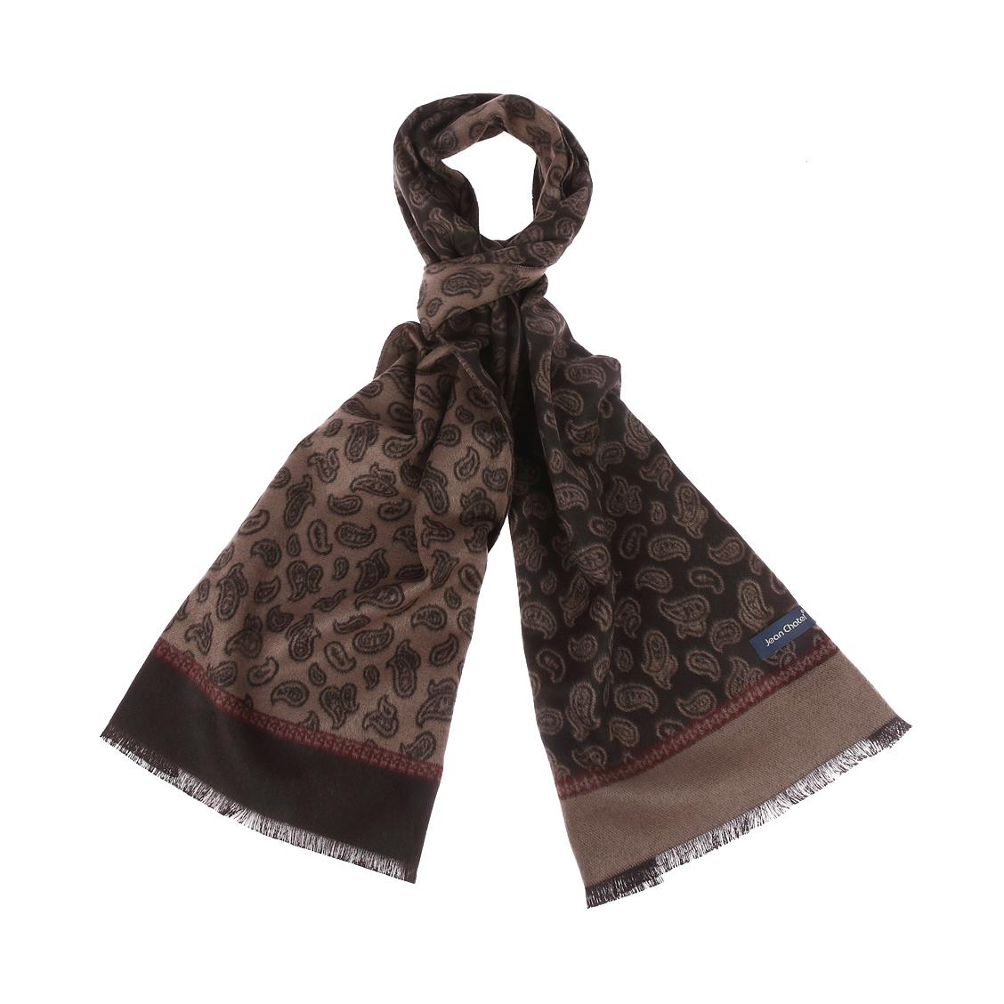 Chèche jean chatel camel à imprimé cachemire noir