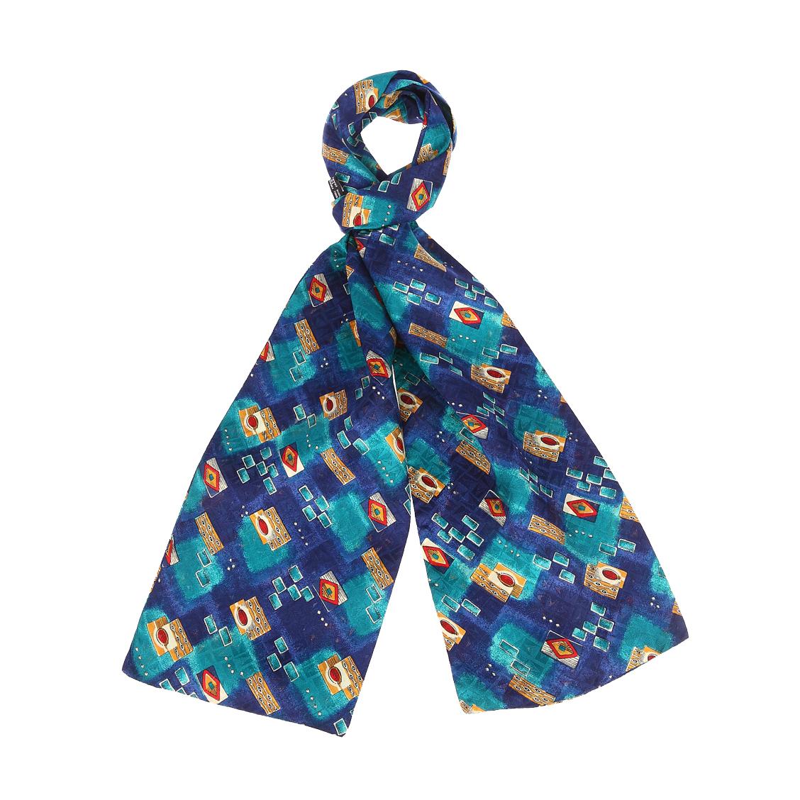 Echarpe en soie  bleu marine et vert turquoise à motifs