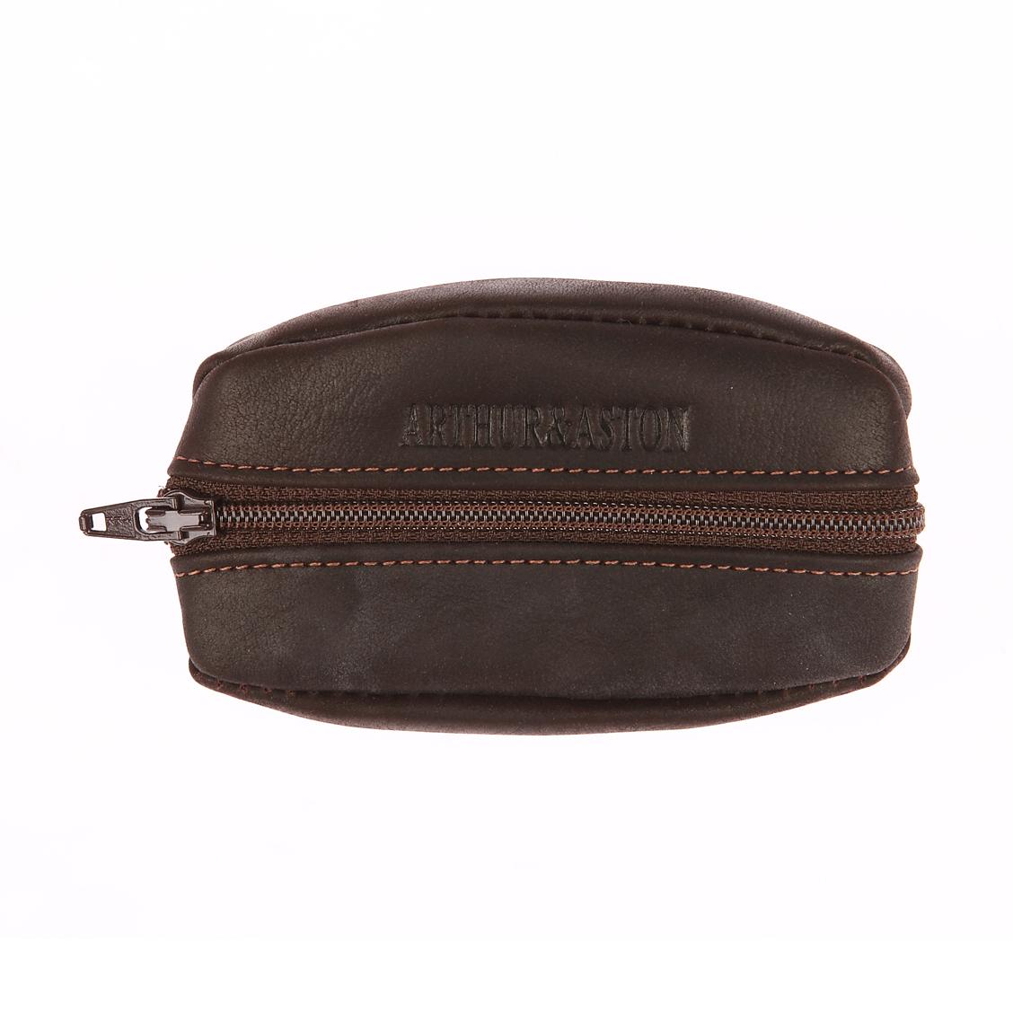 Porte-monnaie zippé arthur & aston en cuir marron avec une poche arrière