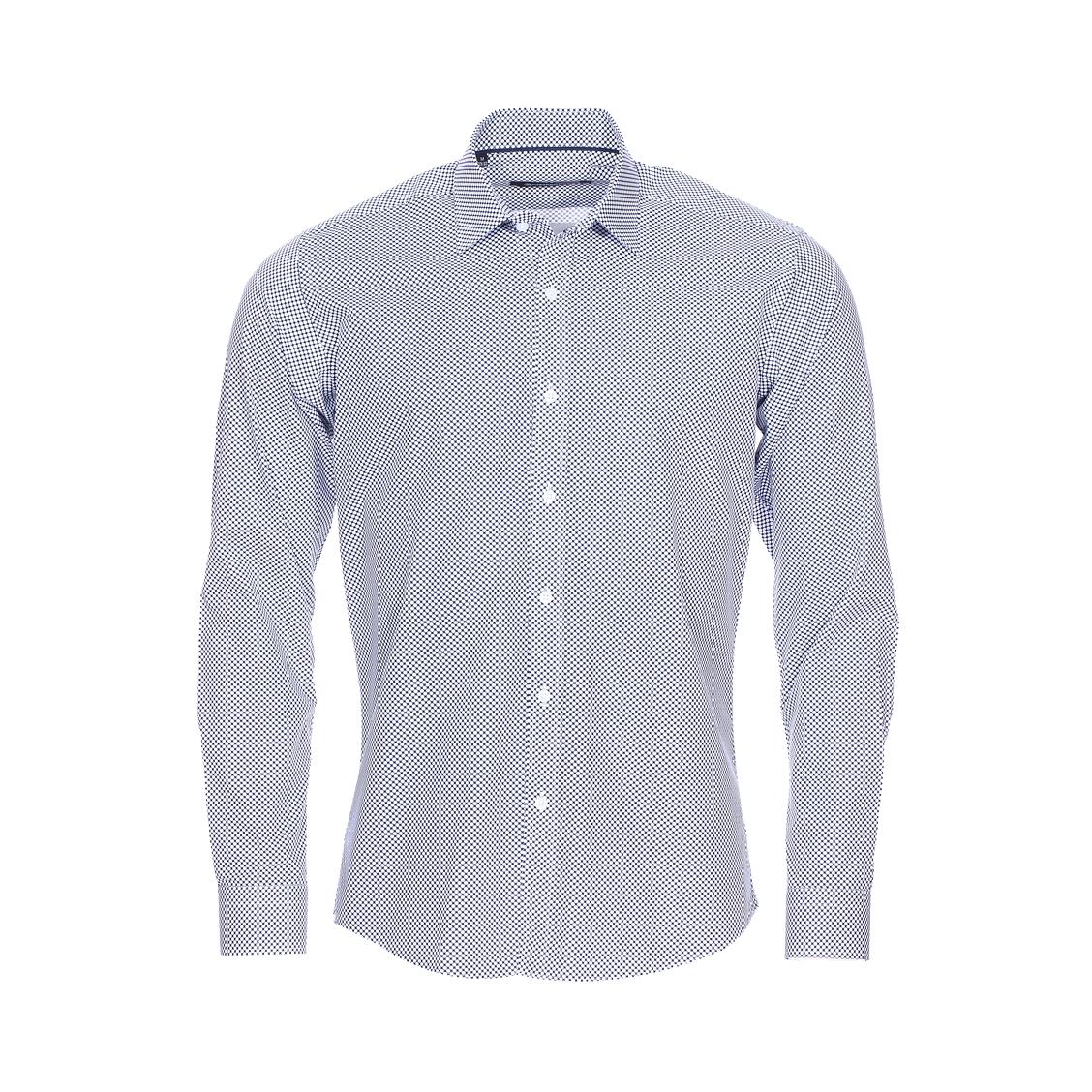 Chemise cintrée Gianni Ferrucci en coton bleu marine à pois blancs