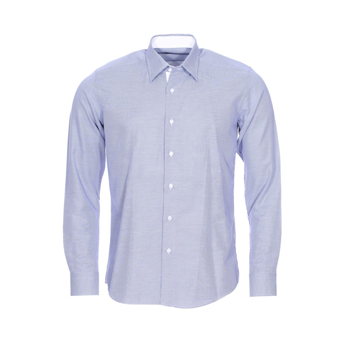 Chemise cintrée  en coton mélangé bleu à petits carreaux blancs